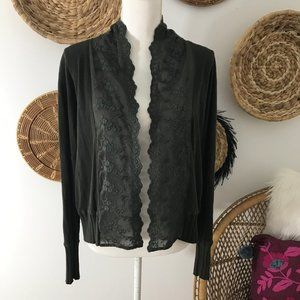 Anthropologie Tiny Olive Lace Cardigan Sweater